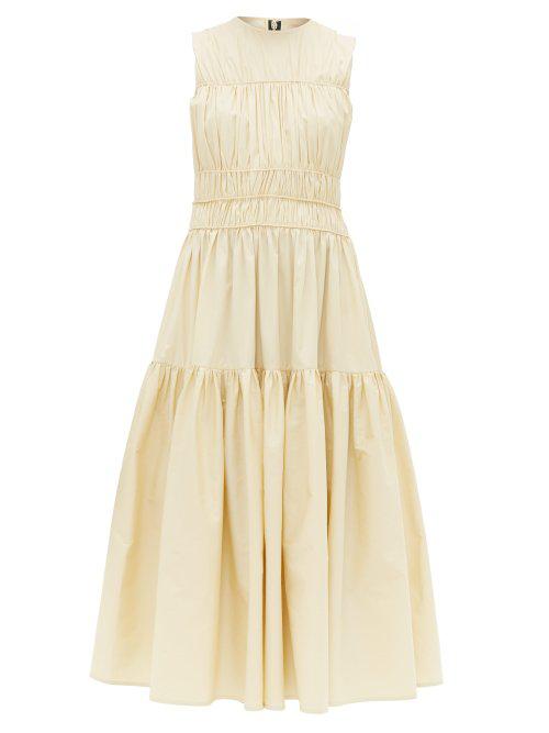 Roksanda Isilda Ruched Cotton-Poplin Midi Dress In Yellow