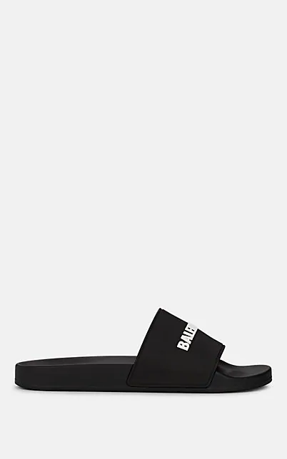 Balenciaga 'Piscine' Logo Print Lambskin Leather Slide Sandals In Black