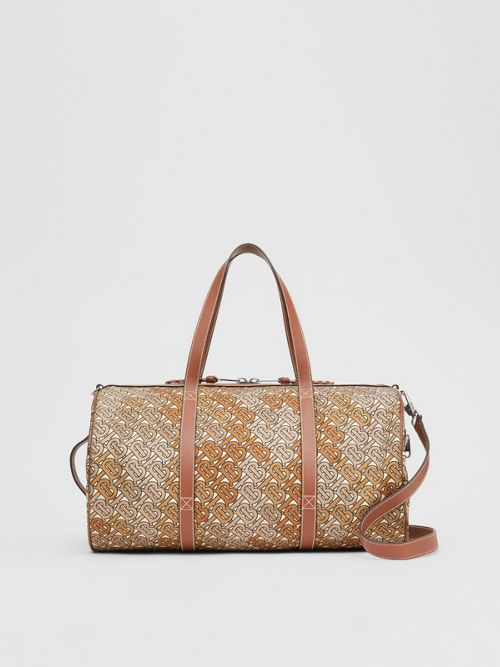 Burberry Monogram Print Nylon And Leather Barrel Bag In Camo Brown