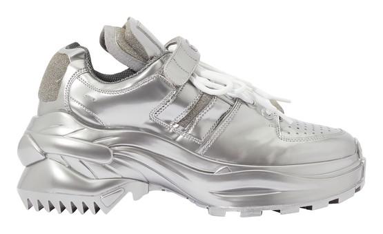 Maison Margiela Retro Low Fit Metallic Sneakers In Silver