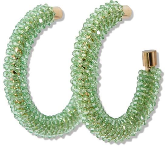 Jacquemus Les Creoles Brila Hoop Earrings In Light Green