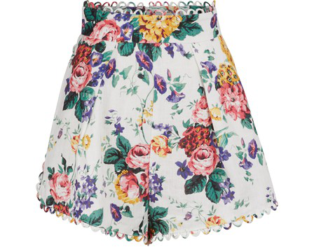 Zimmermann Allia High-rise Floral-print Linen Shorts In White Floral