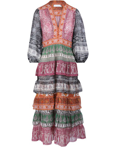 Zimmermann Amari Printed Tiered Cotton And Silk-Blend Chiffon Dress In Spliced