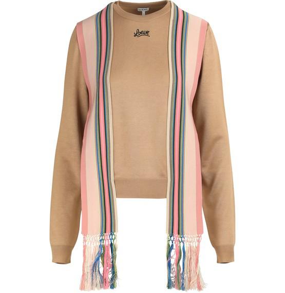 Loewe Neutral Women's Sweater Stripe Bands In Camel