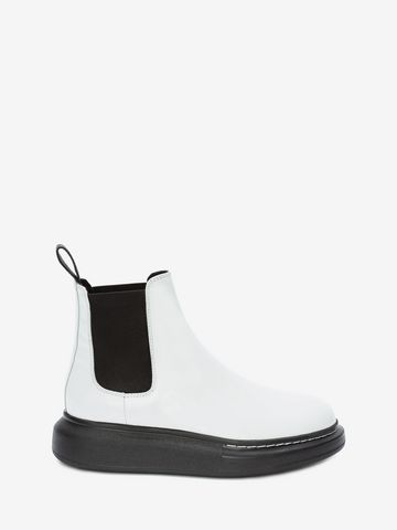 Alexander Mcqueen 40mm Hybrid Leather Chelsea Boots In White