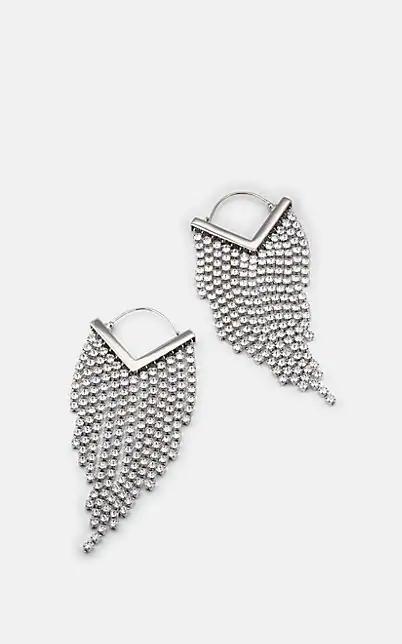 Isabel Marant 'Freak Out' Glass Crystal Fringe Drop Earrings In Silver