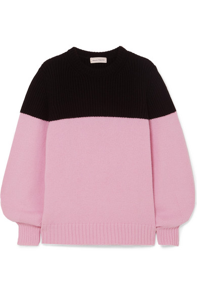 Alexander Mcqueen Colour Block Cashmere Knitted Jumper In Pink