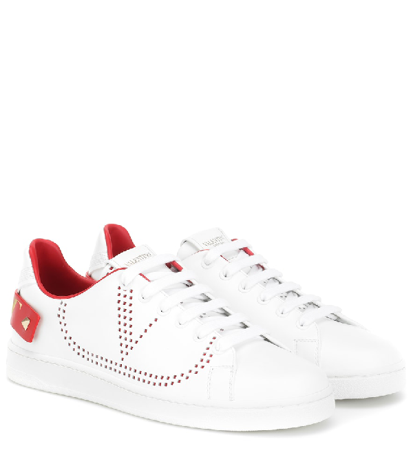 Valentino Garavani Low Sneakers With Go Logo Detail In White And Red Leather In Ds5 Rouge