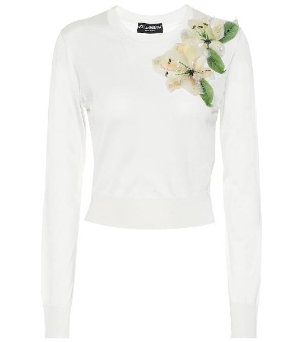 Dolce & Gabbana Long Sleeve Embroidered Floral Knit Pullover In White