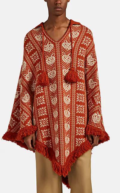 Gucci Wild-Cat Fair Isle Wool-Alpaca Poncho - Orange