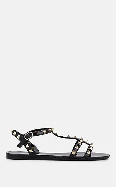 Valentino Rockstud Pvc Slingback Sandals In Black