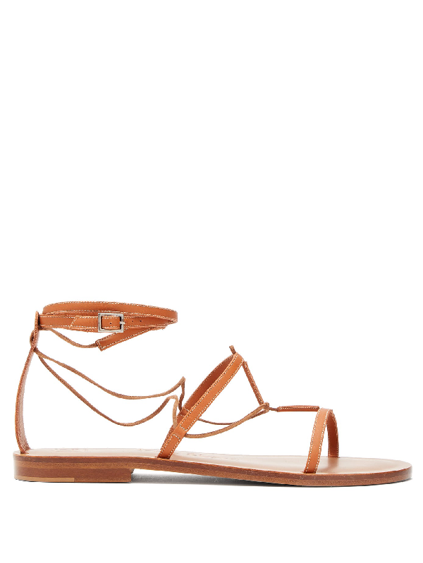 Álvaro González X Kim Hersov Kyah Leather Sandals In Tan