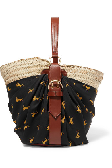 ChloÉ Panier Leather-trimmed Printed Twill And Woven Raffia Tote In Black