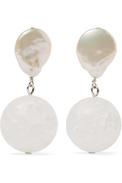 Anita Berisha Structure Silver Pearl And Quartz Crystal Earrings