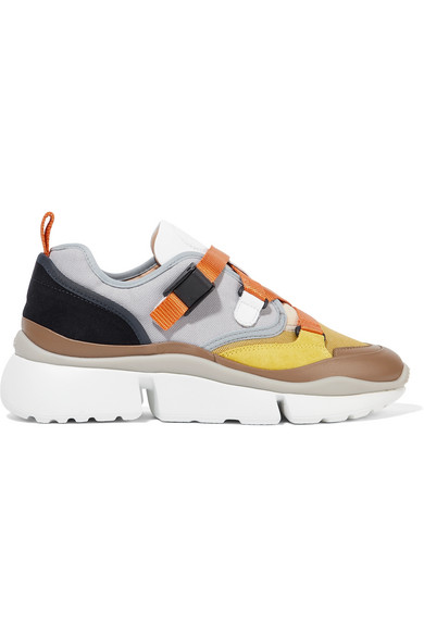 ChloÉ Sonnie Canvas, Mesh, Suede And Leather Sneakers In Multi