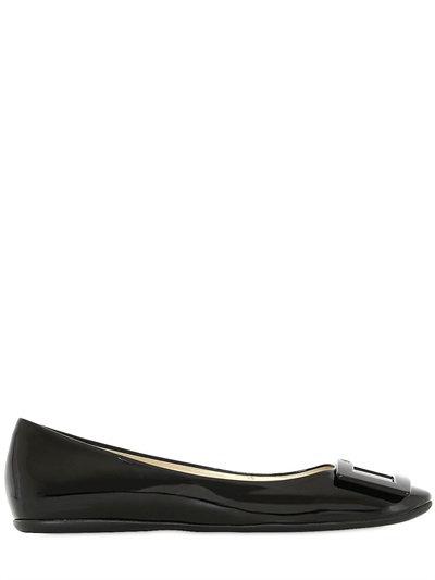 Roger Vivier 10mm Gommette Patent Leather Ballerinas, Black