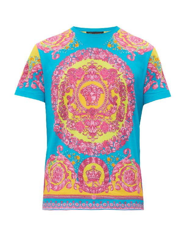 Versace Baroque And Medusa Head Print T-shirt In Blue