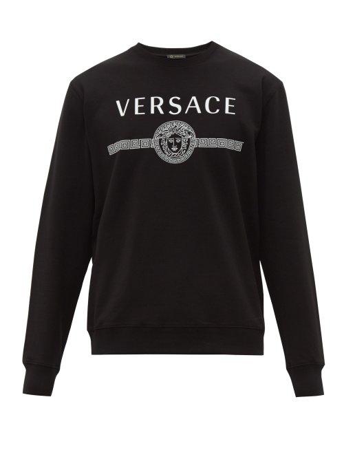 Versace Logo Print Loop Back Cotton Jersey Sweatshirt In Black