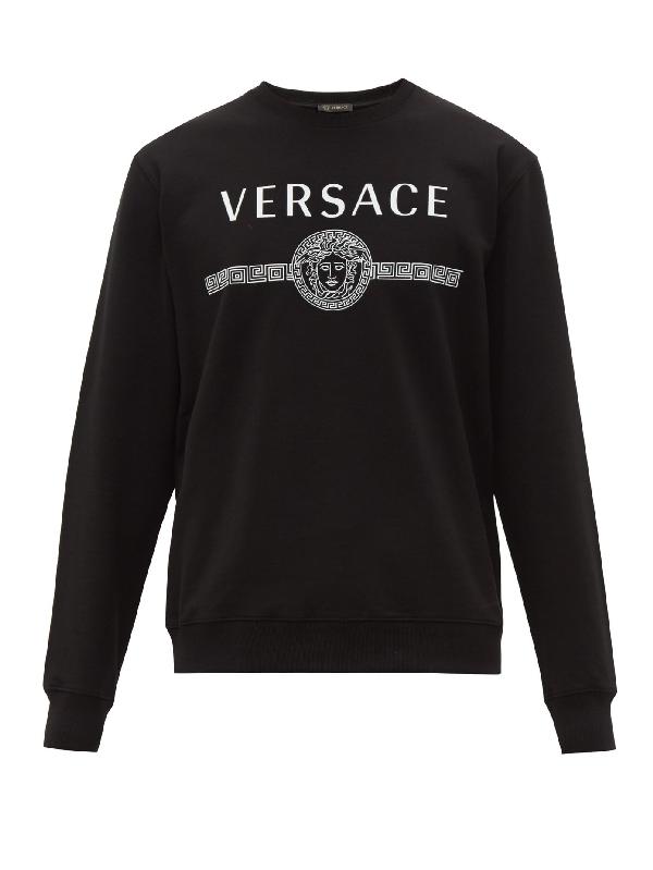 Versace Logo-print Loop-back Cotton-jersey Sweatshirt In Black