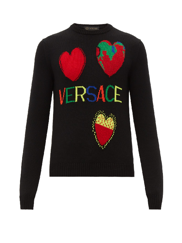 Versace Intarsia-heart Motifs Wool Sweater In Black
