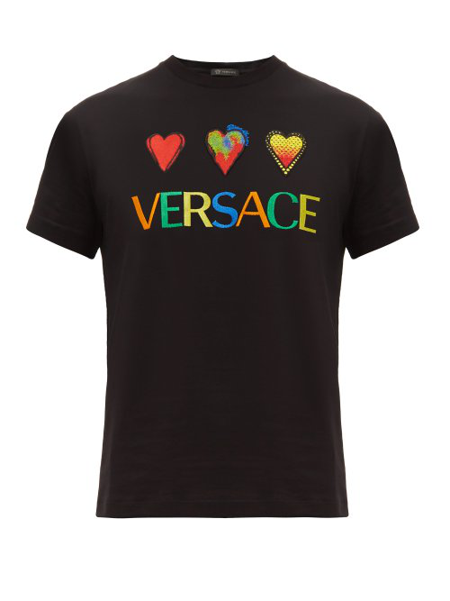 Versace Embroidered Logo And Heart Cotton T Shirt In Black