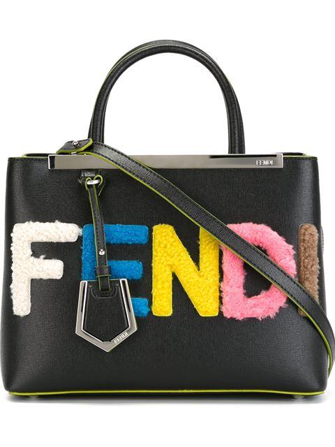 6bbc51616c Fendi 2Jours Small Shearling-AppliquÉD Textured-Leather Shopper In Black  Multi