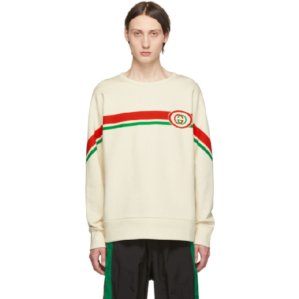 Gucci Web-striped Gg-print Cotton Sweatshirt In 9230 White