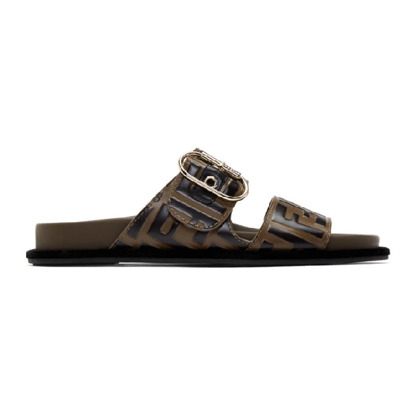Fendi Logo-embossed Double-strap Leather Sandals In Brown