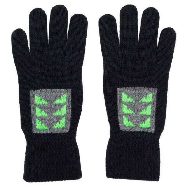 Fendi Navy Wool Little Bag Bugs Gloves