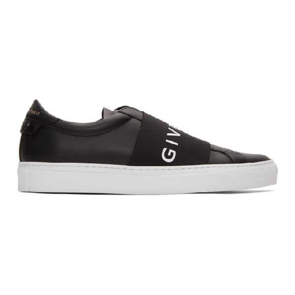 Givenchy Urban Street Logo-Print Leather Slip-On Sneakers In 004 Black