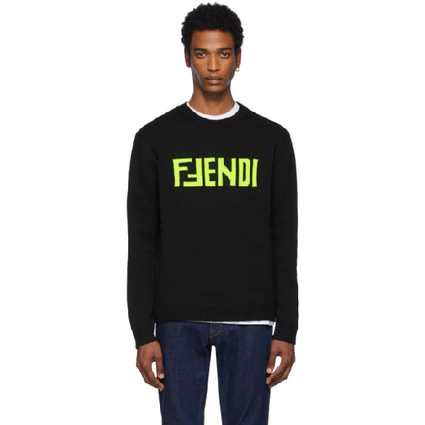 Fendi Fluorescent Logo Wool Knit Crewneck Sweater In Black