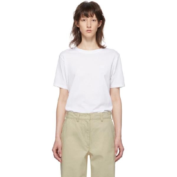 Acne Studios White Organic Cotton T-shirt With Back Logo In Optic White