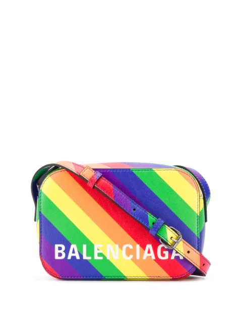 Balenciaga Lgbtqia+ Pride Rainbow Leather Crossbody Camera Case In 3780 Multicolor