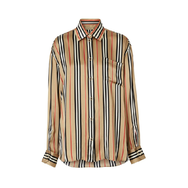 Burberry Vertical Check Printed Silk Twill Shirt In Archive Bei