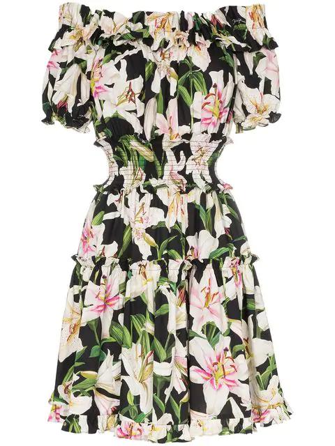 Dolce & Gabbana Off-the-shoulder Ruffled Floral-print Cotton-poplin Dress In Black ,neutral