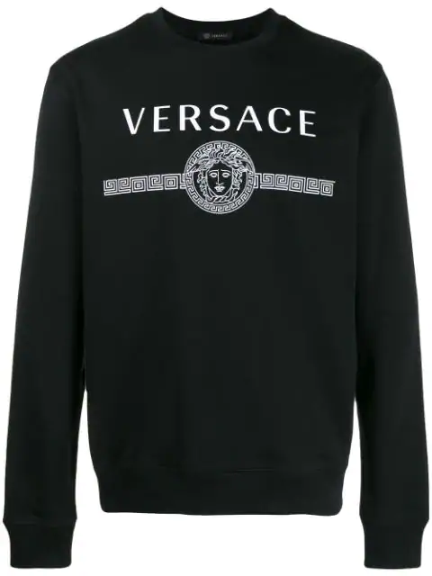 Versace Logo-print Loop-back Cotton-jersey Sweatshirt In Black