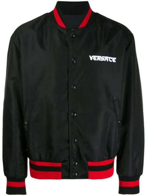 Versace Multicolour Logo Lettering Satin Bomber In Black