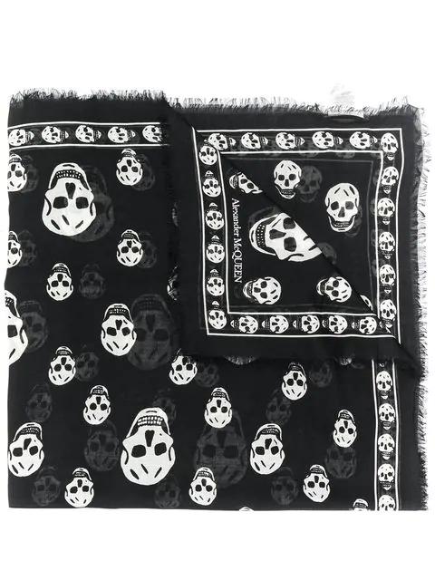 Alexander Mcqueen Classic Skull Printed Silk Chiffon Scarf In Black