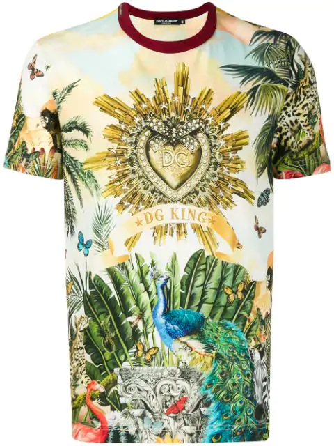 Dolce & Gabbana Short Sleeve T-Shirt Crew Neckline Jumper Tropical King In Green