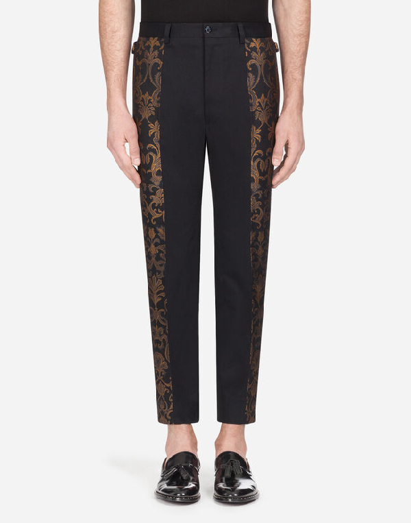 Dolce & Gabbana Stretch Cotton Pants With Bands In Black