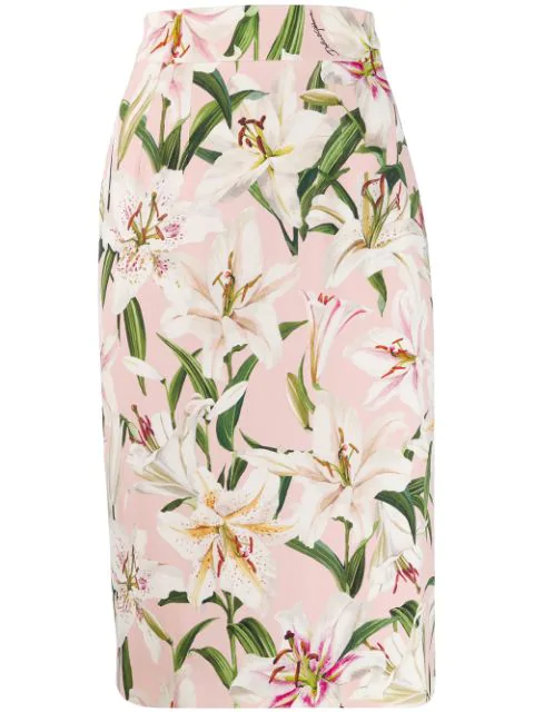 Dolce & Gabbana Lily Print Cady Tubino Pencil Skirt In Hfkk8 Pink