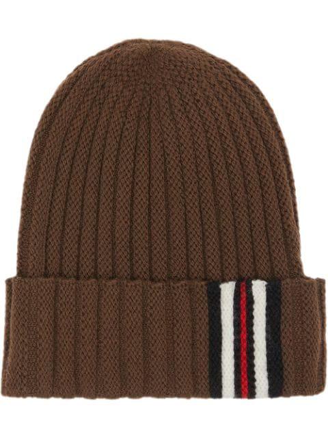 Burberry Icon Stripe Detail Rib Knit Wool Beanie In Brown