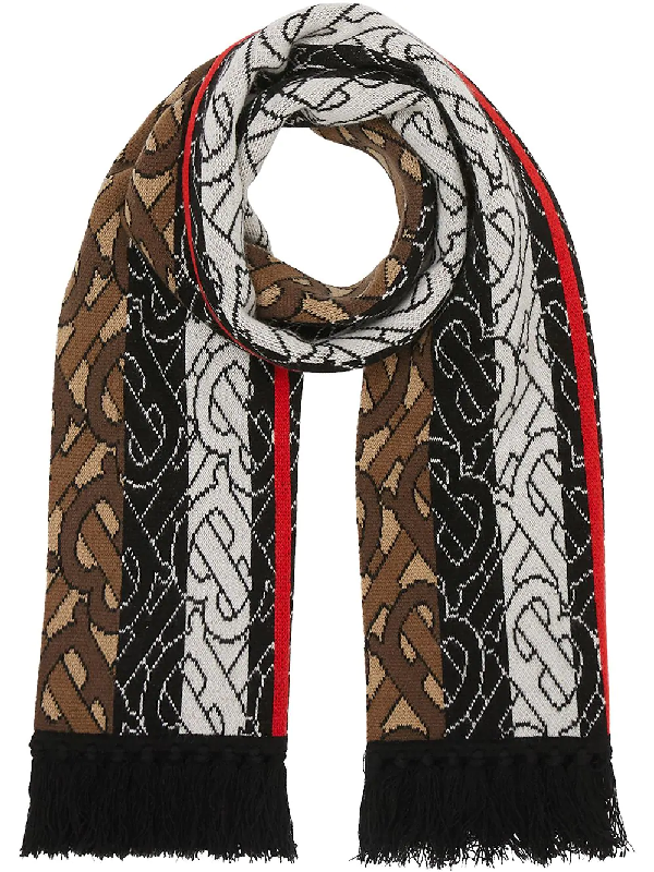 Burberry Monogram Stripe Cashmere Football Scarf In Brown