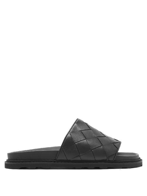 Bottega Veneta Intrecciato Speedster Leather Slide Sandals In 1000 Black