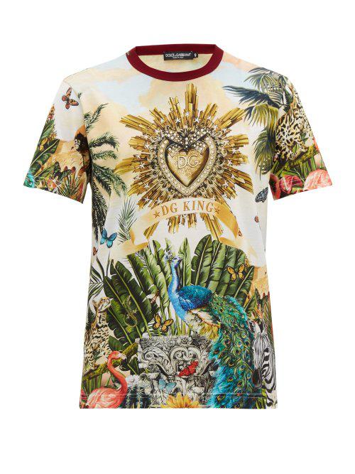Dolce & Gabbana Short Sleeve T-Shirt Crew Neckline Jumper Tropical King In Hhih3 Giardino 2 F.Multico