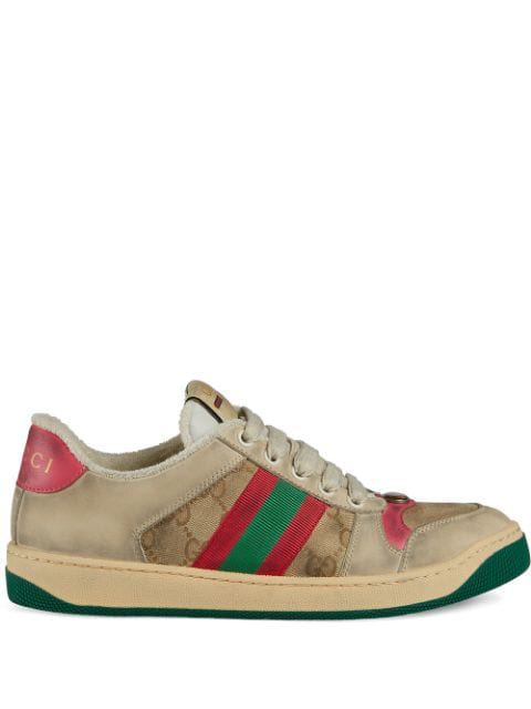 Gucci Low-Top Sneakers Screener  Calfskin Canvas Logo Used Beige Rose In White