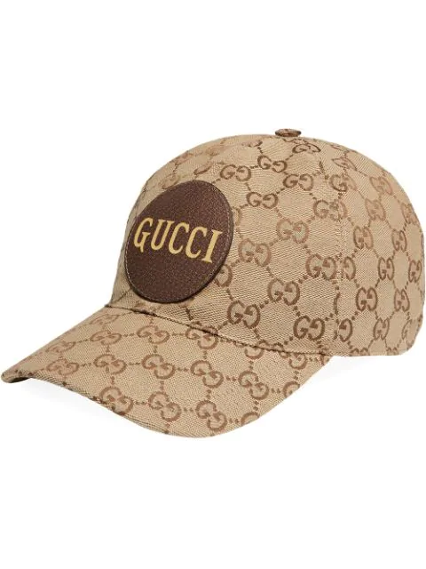 Gucci Men's Gg Canvas Baseball Hat With Leather Logo Patch In Neutrals