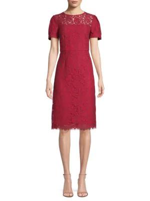 Draper James Lace Sheath Dress In Red