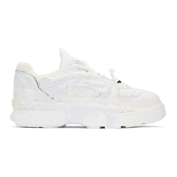 Maison Margiela Fusion Rubber-trimmed Distressed Leather Sneakers In White Mix