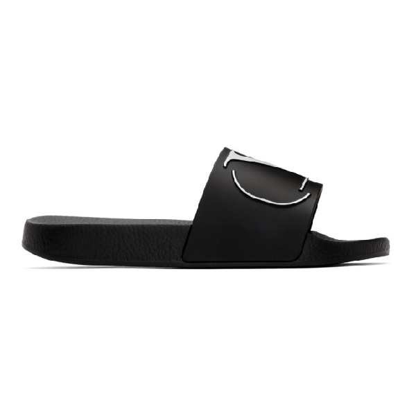 Valentino Garavani Logo-Embossed Rubber Slides In Black
